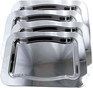 "Maro Megastore (Pack of 4) 17.9"" x 13"" Traditional Rectangular Trim Wavy Shiny Plain Design Tray/Wine Bottle Coaster Chrome Plated Serving Plate Metal Steel Mirror Deco Tray Platter (Large) T1682L-4PK"