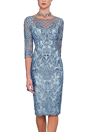 ba74fca7ae07da Newdeve Women's Mother of The Bride Dresses with Lace Jacket Short for  Wedding Blue