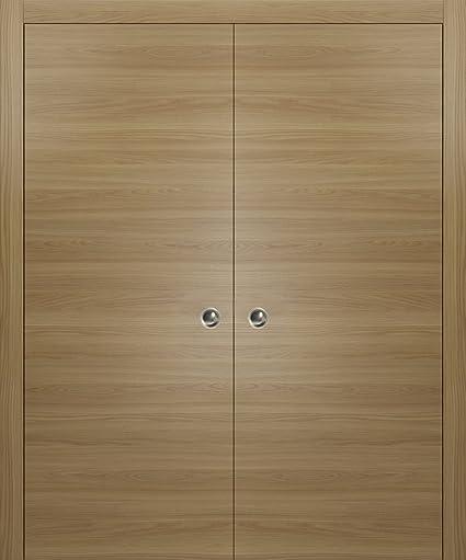 Modern Double Pocket Closet Doors 72 X 80 Planum 0010 Honey Ash
