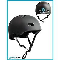 Bluewheel Casque H30 pour Gyropode, Skateboard, BMX, vélo, Structure à 3 Couches, sécurité, Confort, système d'aération, Design Noir Mat Adaptable, 50-56 cm et 56-62 cm