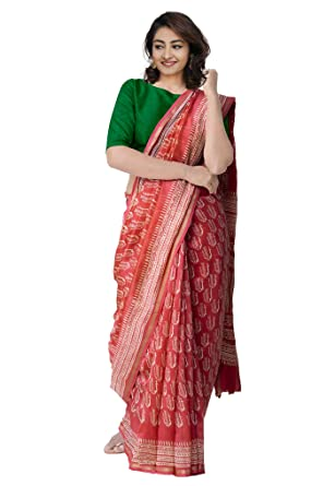 da45f15e7c7 Unnati Silks Women Red Pure Chanderi Cotton Silk Saree with Ethnic Prints  with Blouse from the Weavers of Madhya Pradesh(UNM25830)  Amazon.in   Clothing   ...