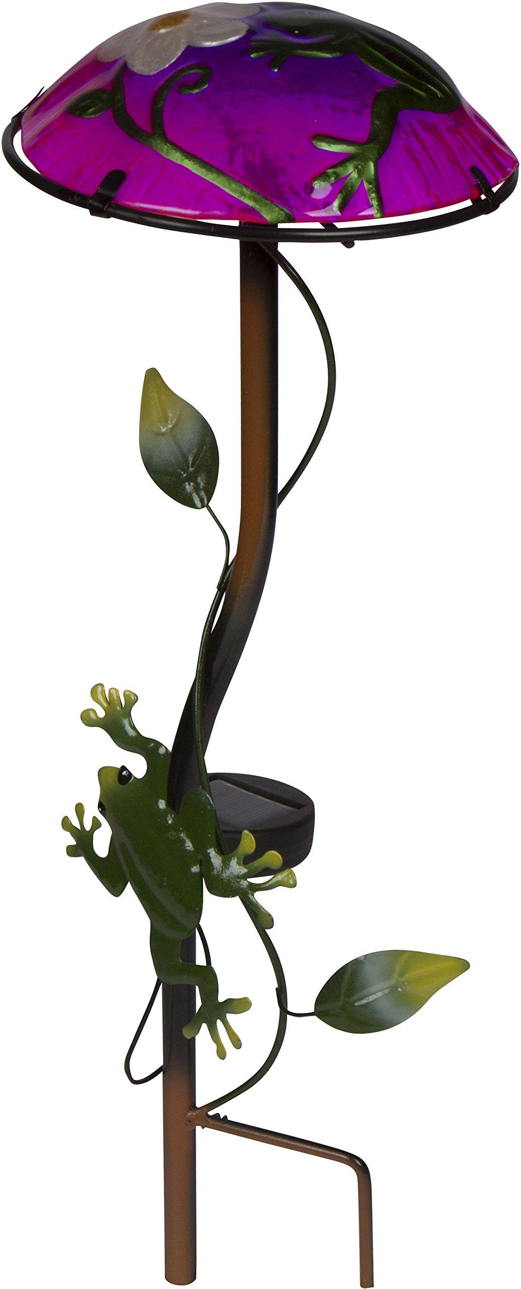 12'' Solar Mushroom Garden Stake with Frog Design by Trademark Innovations (Light Green) by Trademark Innovations (Image #2)