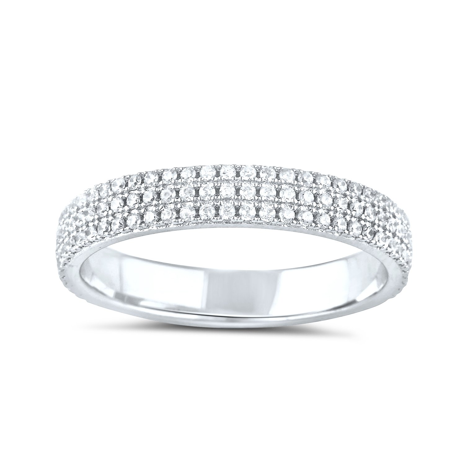 Sterling Silver Simulated Diamond Eternity Ring - Size 7