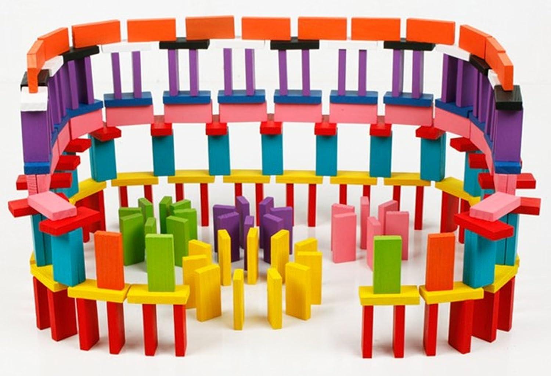Kids Educational Racing Toy Tile Games 240 pcs BlueSnail 10 Colors Authentic Standard Basswood Wooden Domino Blocks Set