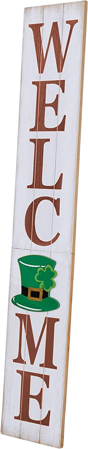 "Collections Etc Vertical Multi-Season Wooden Welcome Sign Decor with Magnetic Backing - Seasonal Outdoor Home Decoration for Front Porch, Door, Wall - 46"" x 8"""