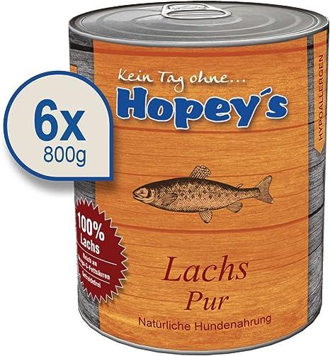 hopey s hipoalergénica allergenes Perros Forro: salmón como fuente de proteína Única, 100% salmón para perros, 6 x 800 g latas