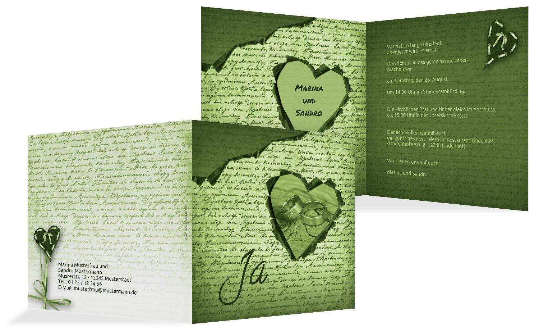 Hochzeit Einladung 2 Herzensgedicht, 10 Karten, TürkisGrauMatt B07HMX5Y7D | München  | Günstigen Preis  | Sehr gute Qualität