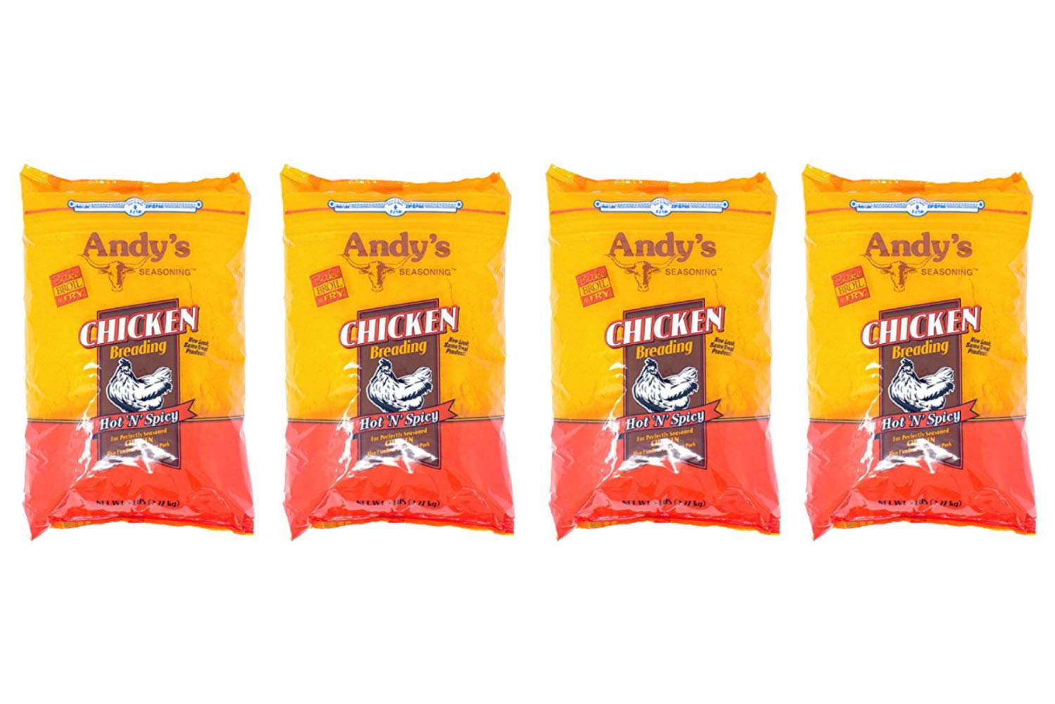Andy's Seasoning Hot n Spicy Chicken Breading 80 Ounces Bag (4 Pack)