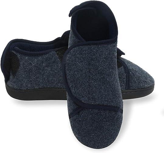 Mens Memory Foam Diabetic Slippers with Adjustable Closures,Comfy Warm Extra-Depth /& Wide Fleece Arthritis Edema Swollen House Shoes