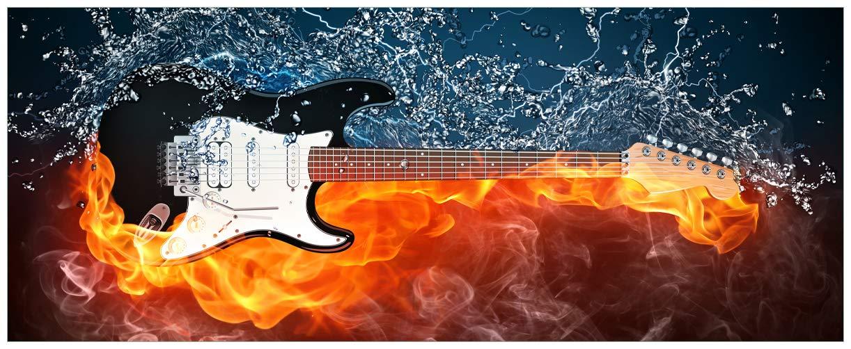 XXL Wallario - Póster con diseño de fuego-agua-guitarra eléctrica en calidad superior, tamaño: 80 x 200 cm: Amazon.es: Hogar