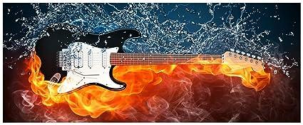 XXL Wallario - Póster con diseño de fuego-agua-guitarra eléctrica en calidad superior