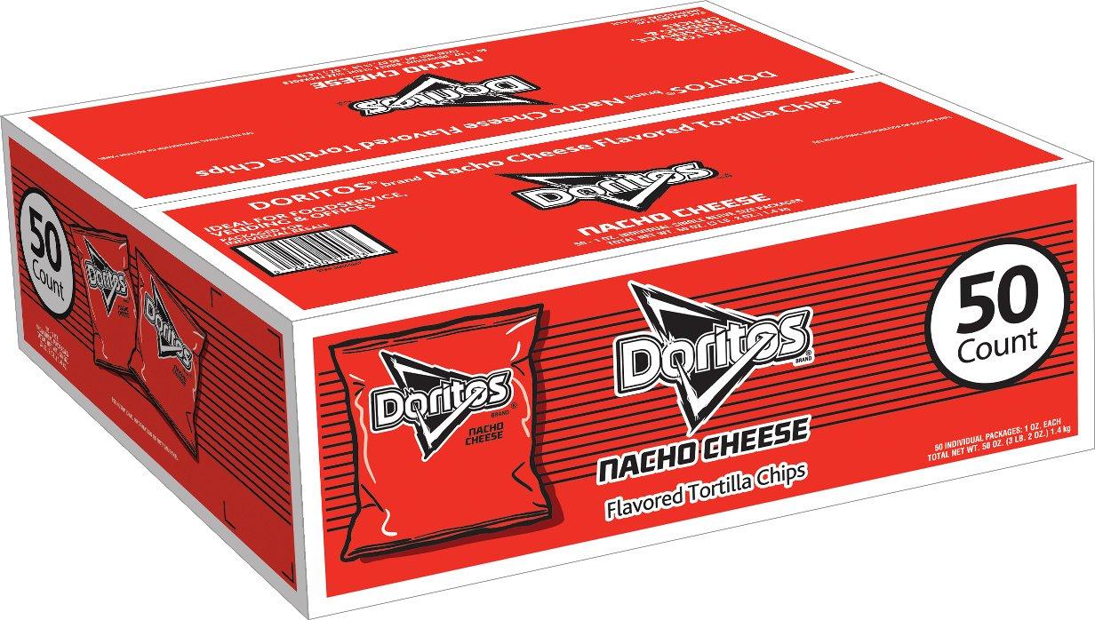 Doritos Nacho Cheese Flavored Tortilla Chips, 1 Ounce Bags (50 Count) by Doritos