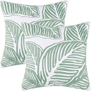 Leaf Embroidered Decorative Throw Pillow Cover 18