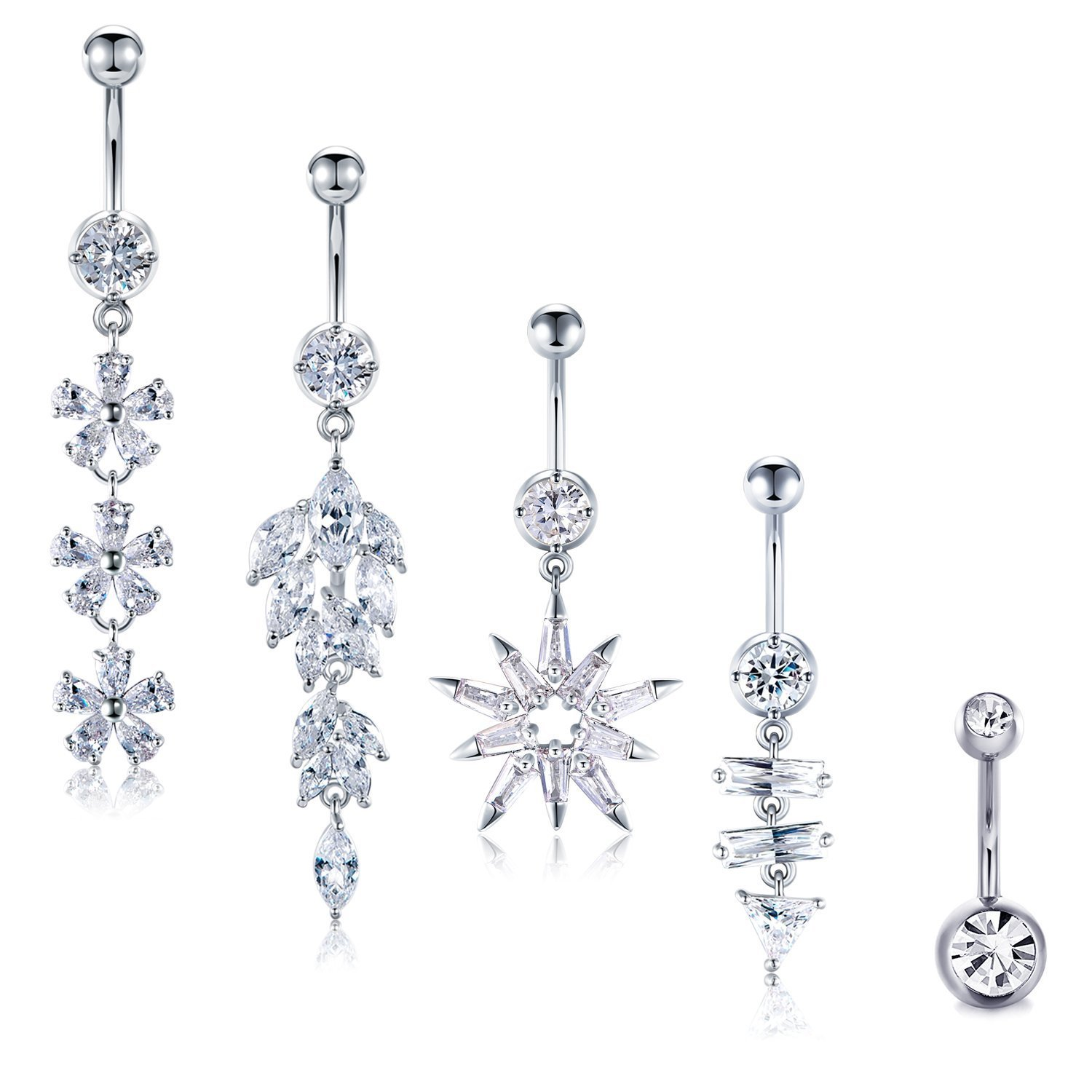 Amazon Com Fectas 14g Belly Button Rings Belly Ring Bars Stainless