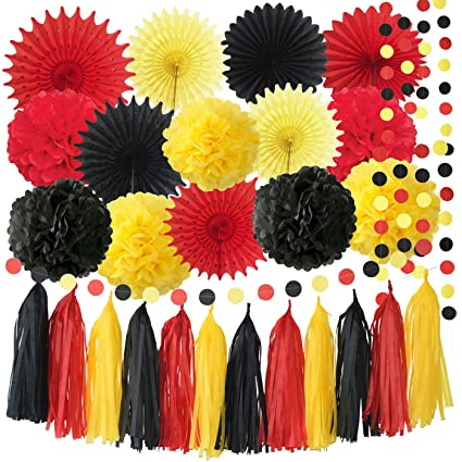 Mickey Mouse Party Decorations Yellow Black Red Tissue Paper Fans Birthday