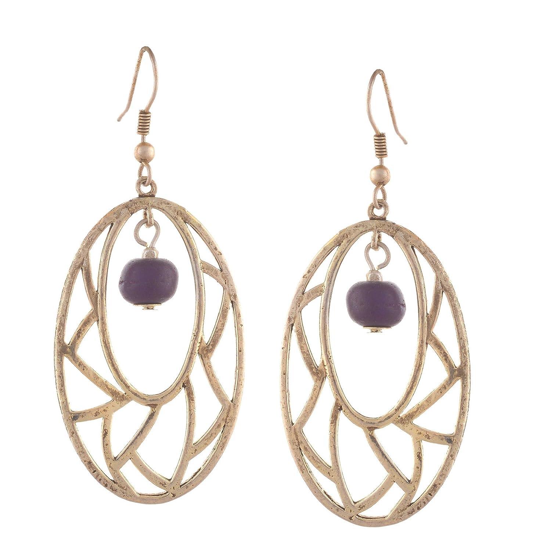 Ornamenta Fashion Silver Tone Lightweight Beaded Hook Dangle Earrings For Girls