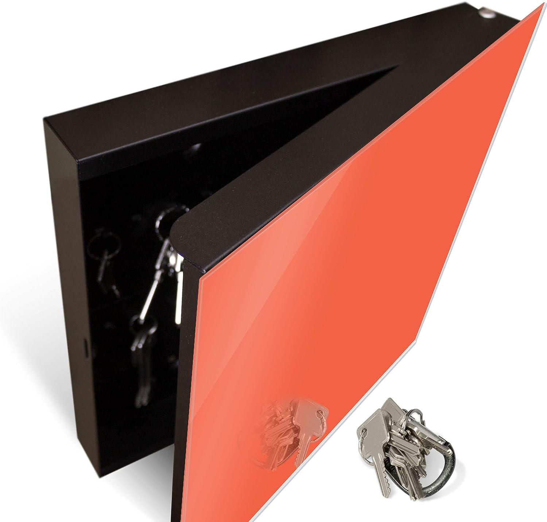 Schl/üsselbox mit 50 Haken Schl/üsselaufbewahrung 30cm x 30cm banjado Gro/ßer Schl/üsselkasten aus Glas Orange Scharnier Links beschreibbare Glast/ür als Magnettafel nutzbar