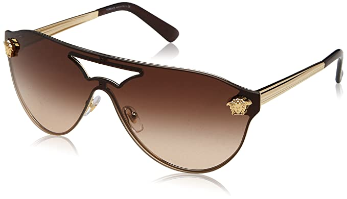 9e7f9954a30 Versace Womens Sunglasses Gold Brown Metal - Non-Polarized - 40mm