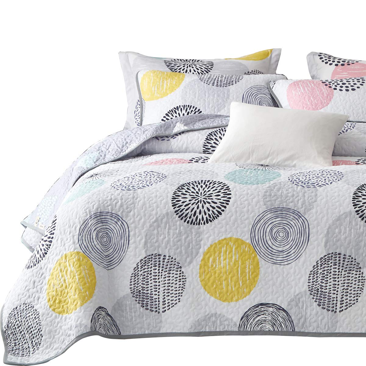 Uozzi Bedding 3 Piece Reversible Quilt Set Queen Size 92x90 Soft Microfiber Lightweight Coverlet Bedspread Summer Comforter Set Bed Cover Blanket for All Season Colorful Dots (1 Quilt+ 2 Shams)
