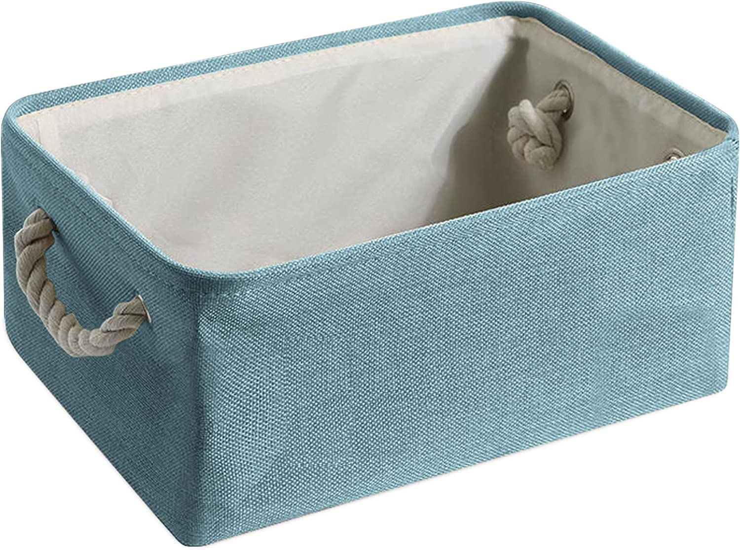GOYAVCE Storage Basket Cubes 16.1 x 12.2 x 7.9 inches, Fabric Collapsible Storage Bins Organizer with Handles, Clothes Baskets Bin for Home Office Toys Kids Room Closet Shelves (Blue)