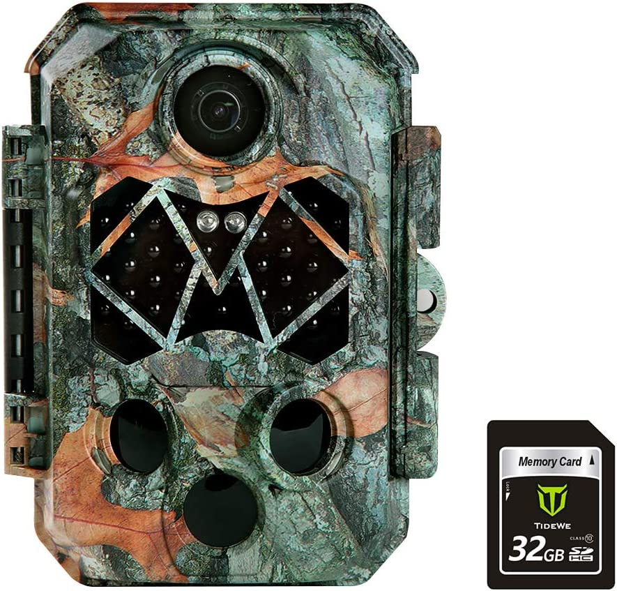 TideWe Trail Camera with 32GB SD Card, 32MP 4K Hunting Camera with 0.2s Trigger 3 PIR, 120° Range Night Vision 45 LEDs Waterproof Scouting Camera for Wildlife Monitoring, Home Security (Leaf)