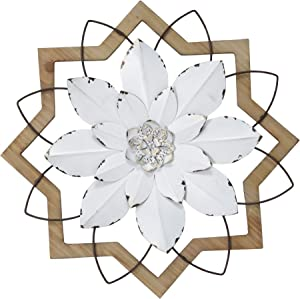 Stratton Home Décor Stratton Home Decor White Wood Frame Metal Flower, 16.00 X 1.50 X 16.00