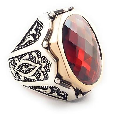 df4bf8816b40c6 Luxury Turkish Handmade 925 Sterling Silver Ottoman CZ Ruby Men's Ring  (9.75)