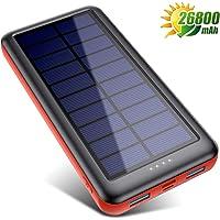 Trswyop Cargador Solar Portátil 26800mAh, Batería Externa Movil 【3 Entradas y 2 Salidas】 Power Bank Solar Carga Rapida…