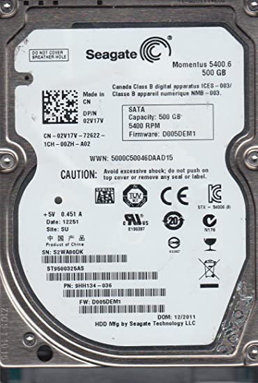ST9500325AS SU FW D005DEM1 PN 9HH134-036 Seagate 500GB SATA 2.5 Hard Dr S2W