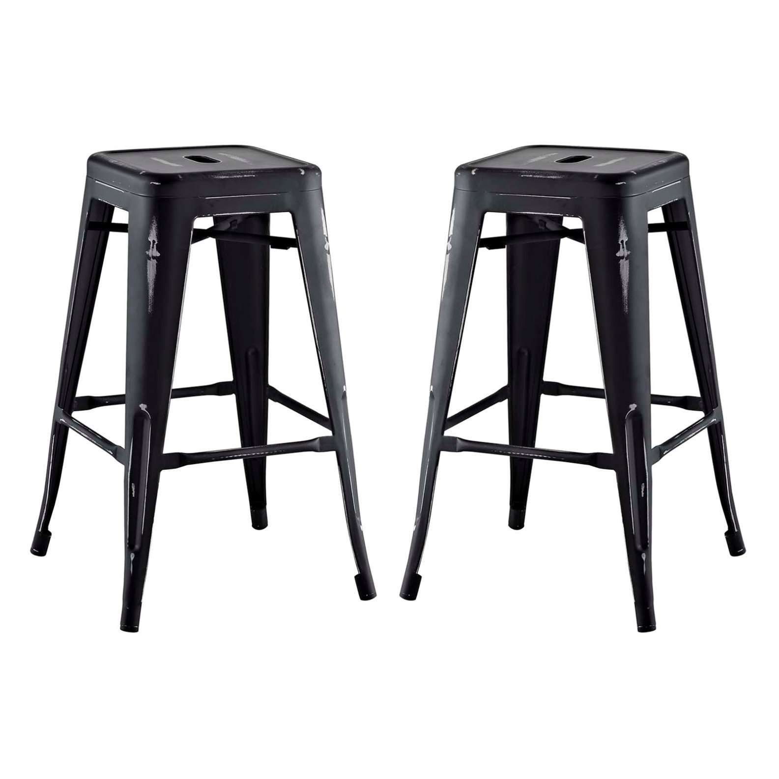 Modern Urban Industrial Distressed Antique Vintage Counter Stool Chair ( Set of 2), Black, Metal