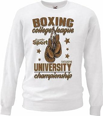 Sudaderas Suéter Boxeo LA Universidad DE LA Liga Boxeo Club de Boxeo Guantes de Cuadro Rocky Stallone Sparring Boxeador en Blanco: Amazon.es: Ropa y ...