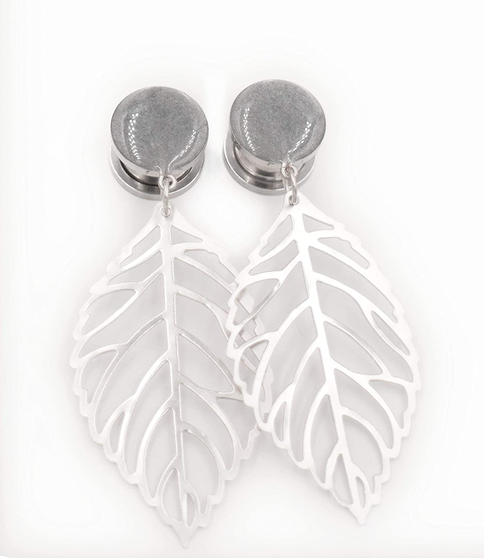 6g 916 2g Silver Leaf Dangle Plugs  8g 716 12 0g 4g 00g 58 inch  Dangle Gauges  Boho Wedding Prom Hanging Plugs Silver