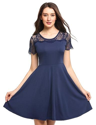 Zeagoo Damen Partykleid Abendkleid Tunika Casual Lace Patchwork A-Linie gefaltete Saum Elastisch Som...