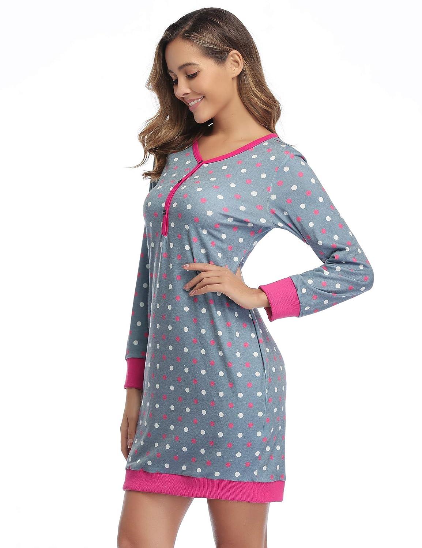 Hawiton Damen Nachthemd Nachtkleid Kurz Langarm Umstandskleid Stillnachthemd Sleepshirt Baumwolle Nachtw/äsche mit Kn/öpfeleiste