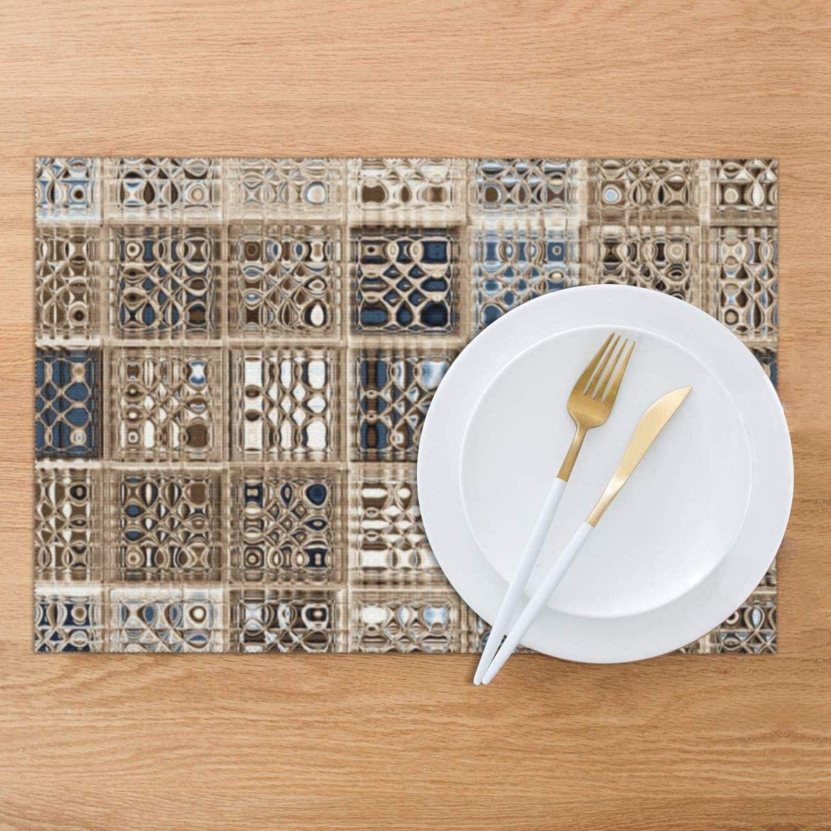 Slate Blue Brown Sari Mosaic Pattern Art Placemats Set of 6 for Dining Table Washable Woven Vinyl Placemat Non-Slip Heat Resistant Kitchen Table Mats