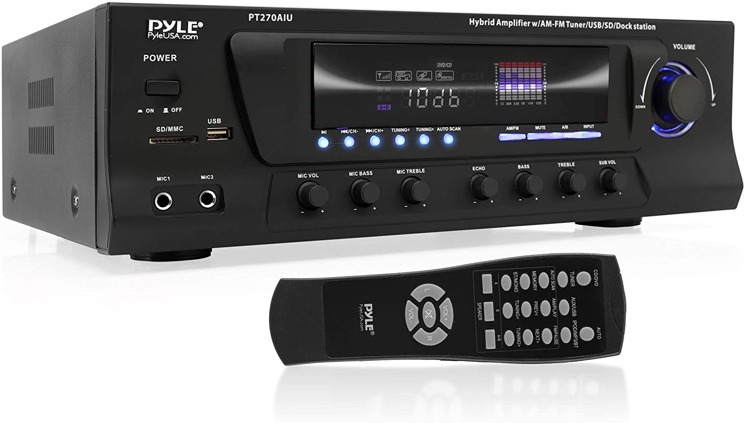 3. Pyle Home PT270AIU 300-Watt Stereo Receiver AM-FM Tuner, USB/SD, iPod Docking Station and Subwoofer Control