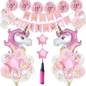 LOBKIN Unicornio Decoración de cumpleaños para niña , con 2pcs Enorme Globo de Unicornio, Feliz Cumpleaños Ballon Banner, para niña Pequeña Fiesta de ...