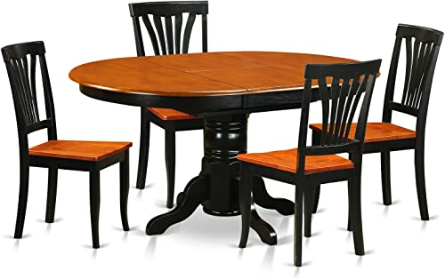 AVON5-BLK-W 5 Pc Dining room set-Oval Table with Leaf and 4 Dining Chairs
