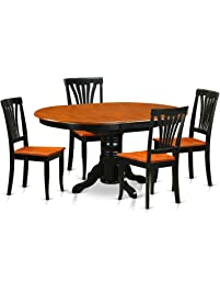 East West Furniture AVON5 BLK W 5 Piece Dining Room Table Set,