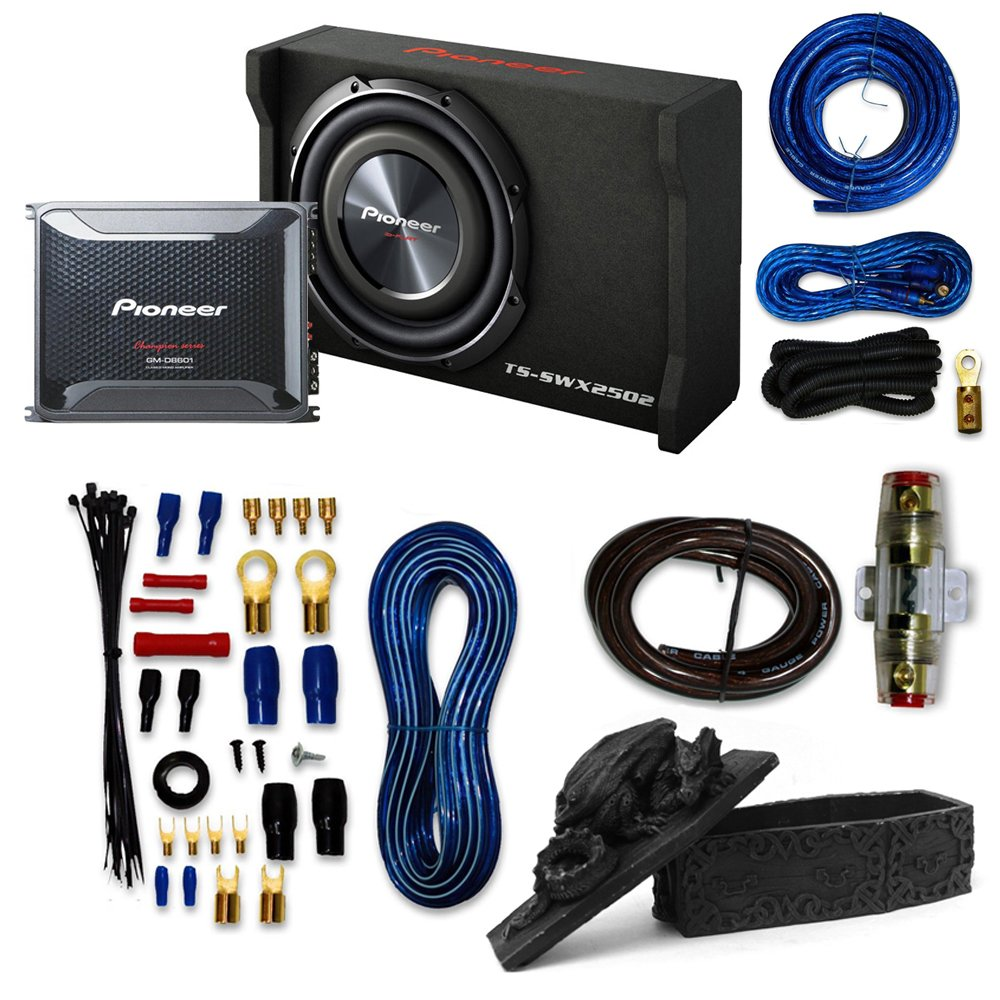 Pioneer Packages Gm D8601 1600w Monoblock Class Wiring Kit For Subs D Car Amplifier With Ts Swx2502 Subwoofer And 4 Gauge Amp Electronics