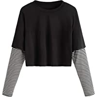 SweatyRocks Women's Color Block Butterfly Print Striped Long Sleeve Crop Top T Shirt