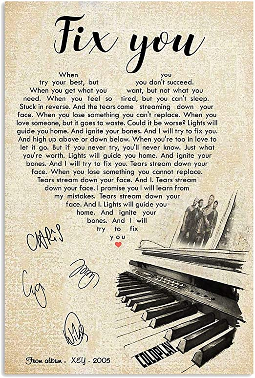 Amazon.com: #Coldplay Fix You Chords Song Lyrics Signed Gift for Fans Poster Poster Home Art Wall Posters [No Framed]: Posters & Prints