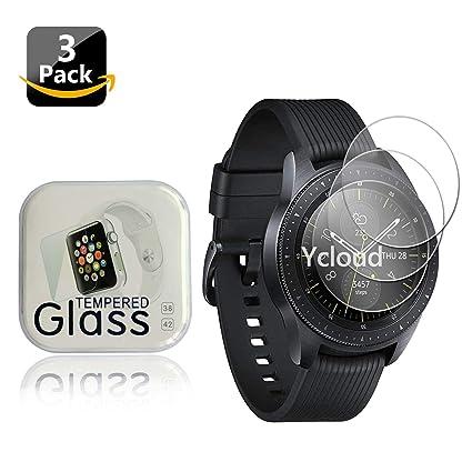 Ycloud [3-Unidades Protector de Pantalla de Vidrio Templado para Samsung Galaxy Watch 42mm Smartwatch Alta Definicion 9H Dureza Anti-Explosion