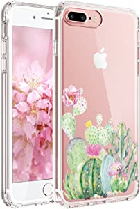 JAHOLAN iPhone 7 Plus Case, iPhone 8 Plus Case Girl Floral Clear TPU Soft Slim Flexible Silicone Cover Phone Case for iPhone 7 Plus iPhone 8 Plus - Green Cactus