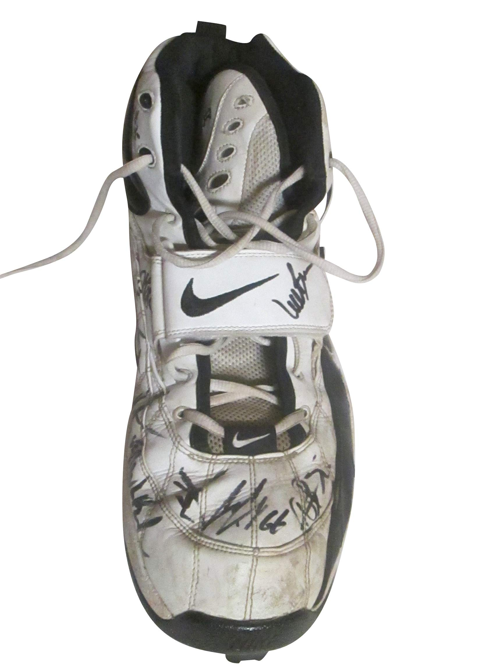 Oakland Raiders Team Autographed Game Used Nike Football Cleat Shoe with Proof Photos of Signing and COA