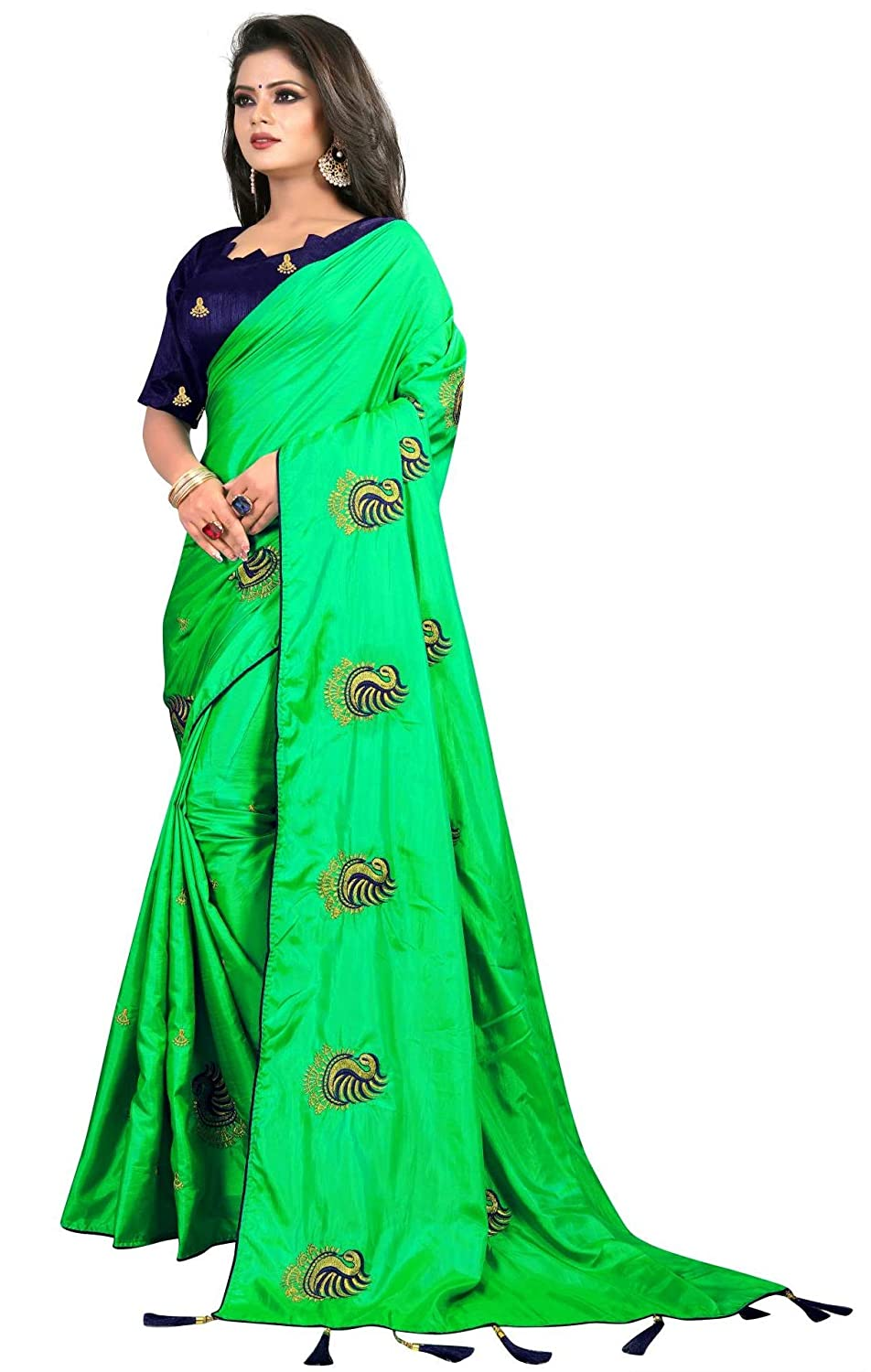 fc895e67d Kuvarba Fashion Women s Paper Silk Embroidered Saree with Blouse Piece ( Green