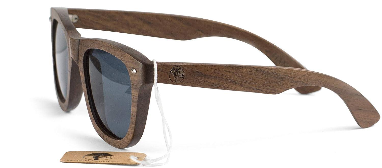 Walnut Real Wooden Sunglasses Wayfarer Design Polarized Lenses with Gift Box by Viable Harvest
