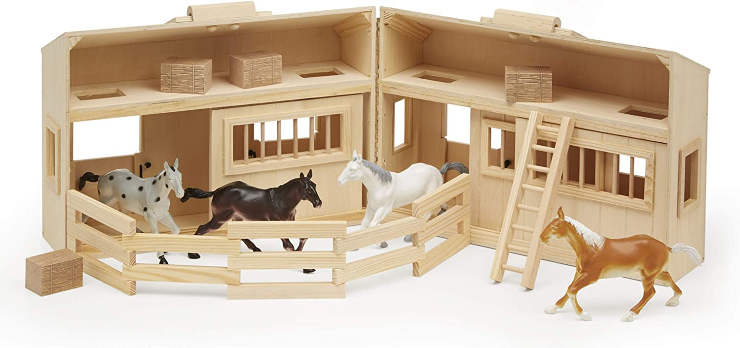 Melissa & Doug Fold and Go Wooden Horse Stable Dollhouse With Handle and Toy Horses (11 Pieces, Great Gift for Girls and Boys - Best for 3, 4, 5, and 6 Year Olds)
