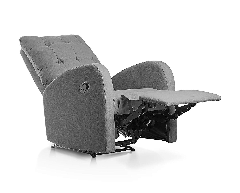 SuenosZzz - Sillon Relax reclinable Soft Sillón tapizado Tela Color Gris | Sillon reclinable butaca Relax | Sillon orejero Individual Salon |Butaca ...