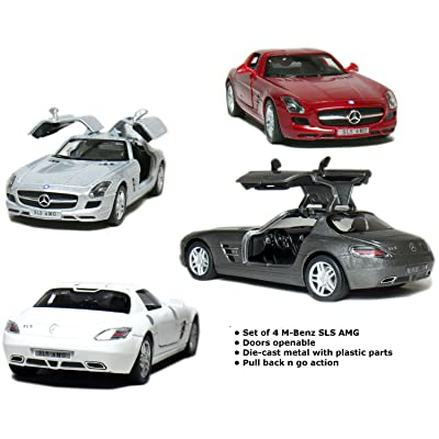 "Set of 4: 5"" Mercedes Benz SLS AMG 1:36 Scale (Grey/Red/Silver/White): Toys & Games"
